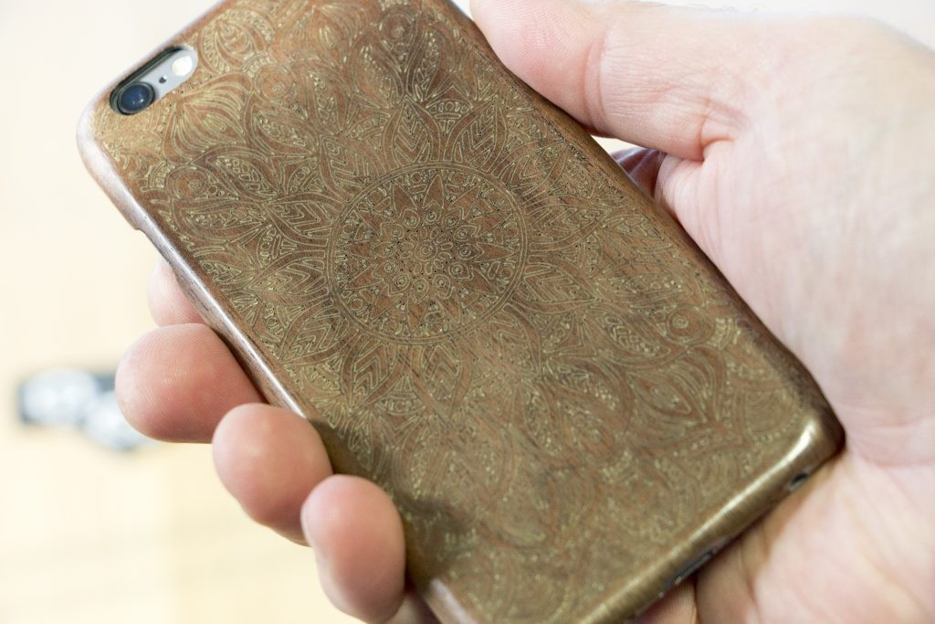 A phone case engraved with the Emblaser 2