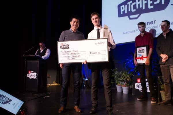 Michael Nixon wins the NSW finals of Regional Pitchfest for his Amazing Annoyatron in mid-2017.