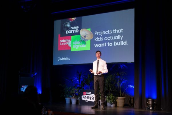 Michael Nixon pitches his winning idea, 'The Amazing Annoyatron', at the NSW finals of Regional Pitchfest in Dubbo.